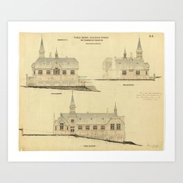 Plan - Goulburn Street Public School for the Board of Education; Drawing No - 3 Elevations - Colour; Art Print