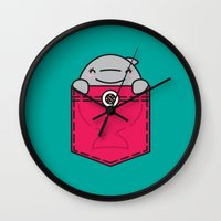 pocket Wall Clocks featuring Pocket Dolphin by Steven Toang