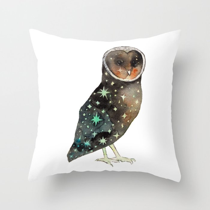 Sparkling Night Black Barn Owl Throw Pillow By Jesschampagne Society6