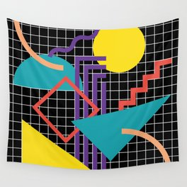 Memphis Pattern - 80s Retro Black Wall Tapestry