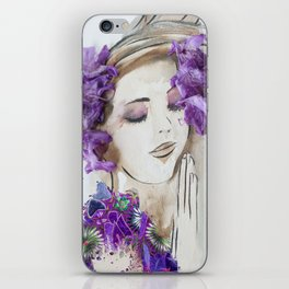 floral bugambilia woman iPhone Skin