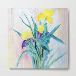 irises on pastel background Metal Print