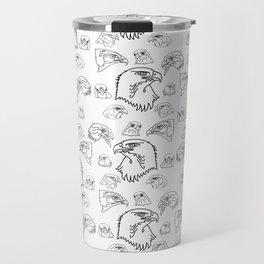 Birds of Prey - black on white Travel Mug