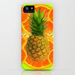 MODERN ART HAWAIIAN PINEAPPLE & ORANGE SLICES FRUIT iPhone Case