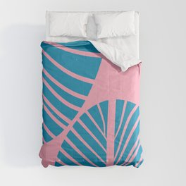 Blue Tropical Palm Minimal. Zen Art Comforters