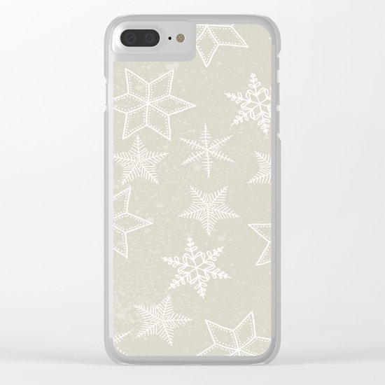 Snowflakes on beige background Clear iPhone Case