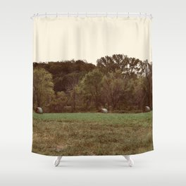 Three Lonely Haybales Shower Curtain