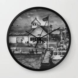 Coastguard Hyannis BW Wall Clock