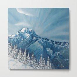 Snowy Mount Rainier, Washington, Original Modern Oil Painting, winter landscape, Lu, Luna Smith Metal Print