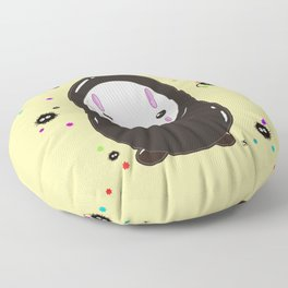 Spirited Away No Face Kawaii With Soot Sprites Floor Pillow
