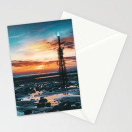 Beacons: Towers crowned by Flames on a Sunrise Beach Stationery Cards