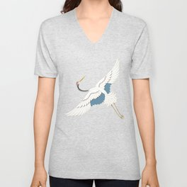 Flying crane and green leafs Unisex V-Neck