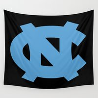north carolina Wall Tapestries featuring NCAA - North Carolina Tarheels by Katieb1013