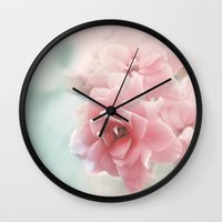 mercedes Wall Clocks featuring Rose flower photo photography by Mercedes
