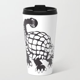 Ankylosaurus Dinosaur Prehistoric Black and White Travel Mug