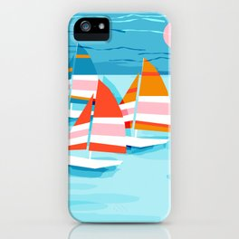 Popin - memphis sports retro throwback neon sailing sailboat cool rad gnarly trendy watersports iPhone Case