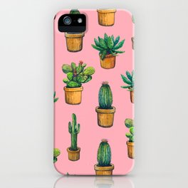 Indoor pink cactus iPhone Case