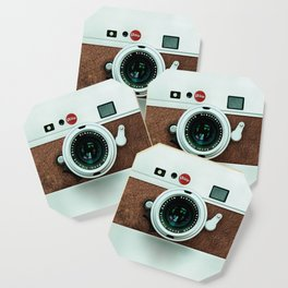 Retro vintage leather camera Coaster