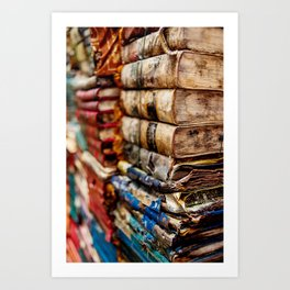 Stacks and stacks of books, Venice Italy Art Print