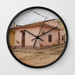 Cobblestone Trinidad Cuba Tropical Island Caribbean Architecture Stucco Old City Streets Latin Ameri Wall Clock