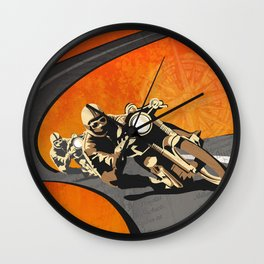 vintage Isle of Man TT motor race poster Wall Clock