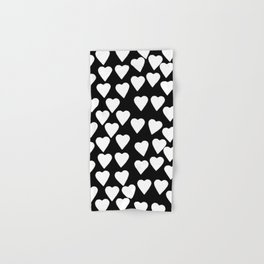 Hearts White on Black Hand & Bath Towel