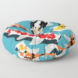 Colorful Koi Carps Swimming Around Floor Pillow