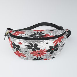 Funky Flowers in Red, Gray, Black and White Fanny Pack
