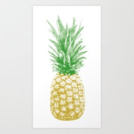Vintage Retro Pineapple Halftone Art Print