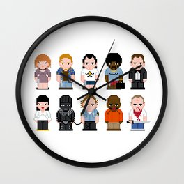 Pixel Pulp Fiction Characters Wall Clock