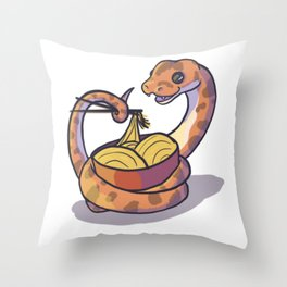 Snake with noodles Throw Pillow