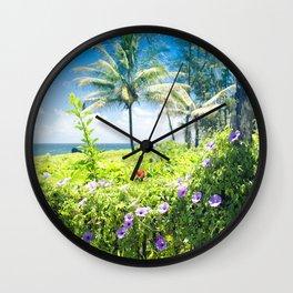 Ipomoea Keanae Morning Glory Maui Hawaii Wall Clock