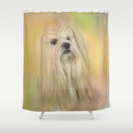 Spring Lhasa Apso Shower Curtain