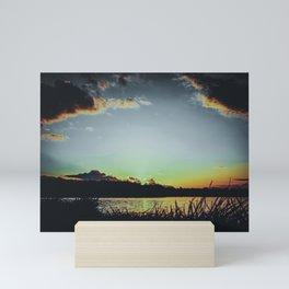 Sundown At Lake Heve 4 dark Mini Art Print