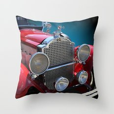 Vintage Antique Red Touring Car Throw Pillow