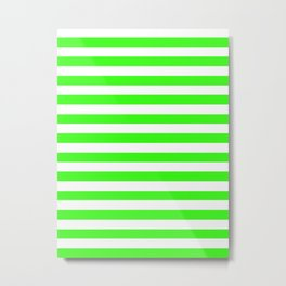 Narrow Horizontal Stripes - White and Neon Green Metal Print