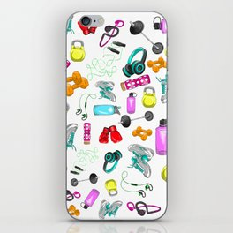 Work Out Items Pattern iPhone Skin