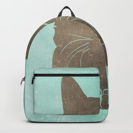 Happy cat illustration in blue and brown Backpack