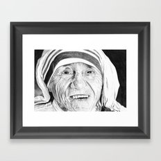 Mother Teresa Pen Drawing  Framed Art Print