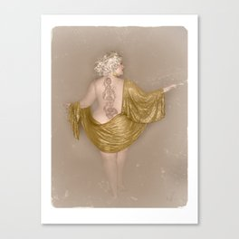 """""""Golden Goddess"""" - The Playful Pinup - Majestic Curvy Pin-up Beauty in Gold by Maxwell H. Johnson Canvas Print"""