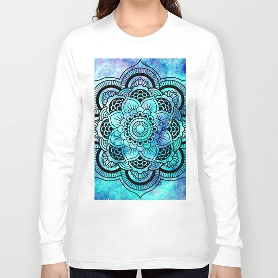Galaxy Mandala Aqua Indigo Long Sleeve T-shirt