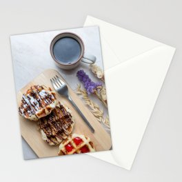 Waffles with black coffee Stationery Cards