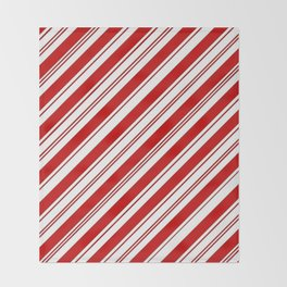 winter holiday xmas red white striped peppermint candy cane Throw Blanket