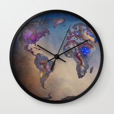 Stars world map. Space. Wall Clock
