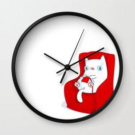 Kitty Loves Knitting Wall Clock