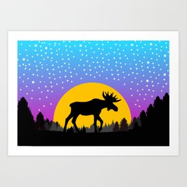 Moose Moon Light Pink and Light Blue Art Print