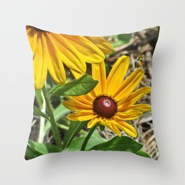 Black-eyed Susans and a Busy Bee Throw Pillow