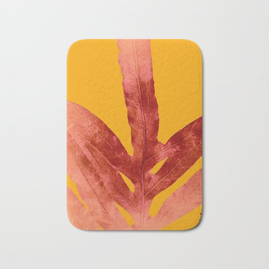 Green Fern on Red On Fire Bath Mat
