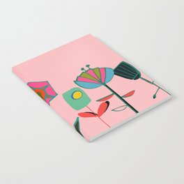 Mid century flowers pink Notebook