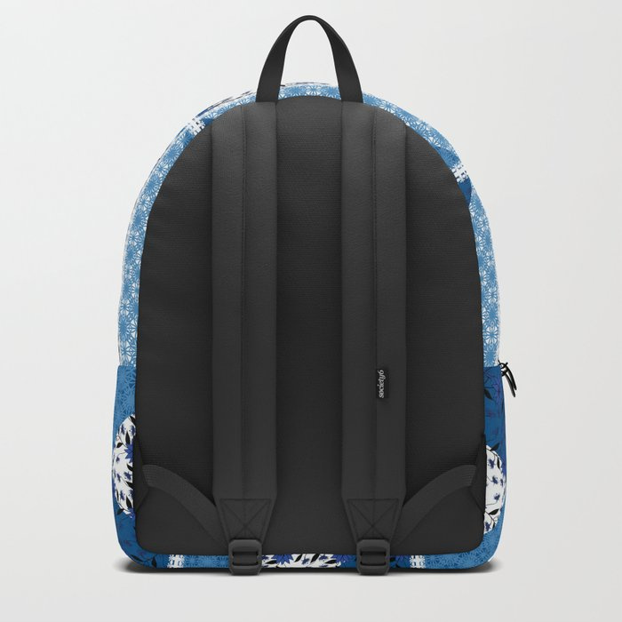 patchwork, abstract floral pattern with decorative elements. Backpack